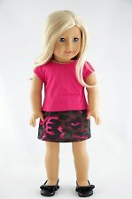 Pink Tee and Skirt American Made / Doll Clothes For 18 inch Girl Dolls