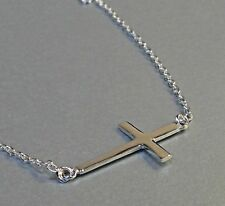 Religious Celebrity Style Plain Sterling Silver Sideways Cross Pendant Necklace