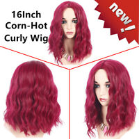 Women Lady Rose Red Long Wavy Curly Wig Synthetic Cosplay Party Beauty Full Wigs