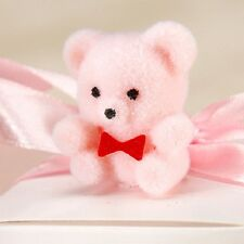 Miniature Flocked Teddy Bears Pink 1 inch 6 Pieces Baby Shower Favor  BW