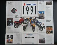 Gran Póster Suzuki 1991 Rango Completa Prospecto Folleto Plegable Moto
