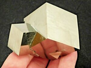 THREE! Entwined Pyrite Crystal CUBES in a Big Cluster From Spain! 401gr