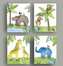 JUNGLE ANIMAL SAFARI Giraffe  MONKEY BABY unisex NURSERY bedding WALL ART decor