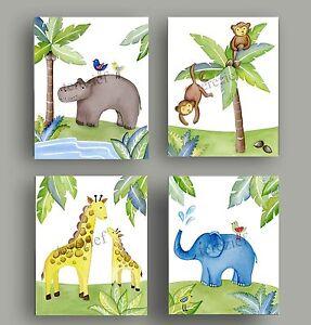 JUNGLE ANIMAL SAFARI Giraffe  MONKEY BABY unisex NURSERY bedding WALL ART decor