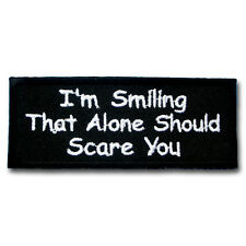 I'm Smiling Patch Iron on Biker Text Saying Tattoo Badge Race Motorcycle Sew Fun