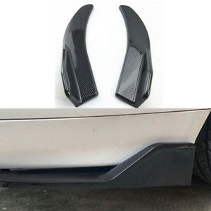 1Pairs Carbon Fiber Winglet Diffuser Spoiler Lip Angle Fit For Car Rear Bumper