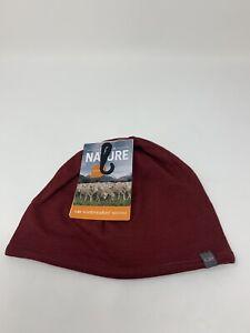 New Icebreaker Unisex Pocket Beanie Hat Reversible 100% Merino Cabernet/Gray NWT