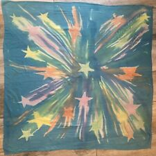 Nussbaum For Blue Scarf Silk Chiffon Hand Painted Stars Watercolor Large 41 X 41