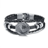 Lucky Men Leather Bracelet Poker Card Charm Wrap Multi-layers Cuff Buckle Bangle