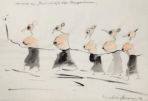 """Ingeborg Hoven, """"Seilschaft der Stripperinnen """" , Original, Unikat,"""