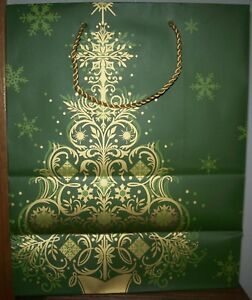 Expression from HALLMARK 4 Green Large Paper Gift Bags Gold Xmas Tree 11x6x13