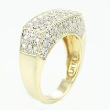 VINTAGE 14K Yellow Gold 1.25 Ct Pave Diamond Bar Ring Size 7 Statement Band