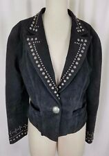 Vintage Frontier Collection Studded Black Leather Motorcycle Jacket Womens S M