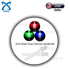 100pcs 5mm LED Diodes Common Anode RGB Tri-Color 4Pin Water Clear Lights USA