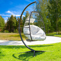 Premium Hanging Chair Swing Chair Patio Egg Chair Large Cushion Large Cream