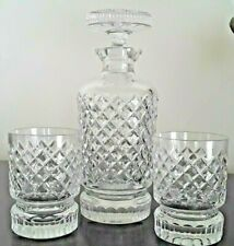 Vintage WHISKEY Crystal Decanter & 2 Glass Bar-Ware Set ☆ EUC ☆Heavy Weight