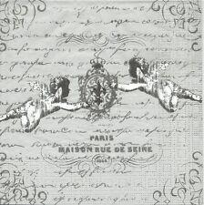 2 Serviettes en papier Anges Fleur de lys - Paper Napkins French Angel Silver