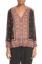 NWT $288 Joie Haya 100% Silk Sheer Blouse; L