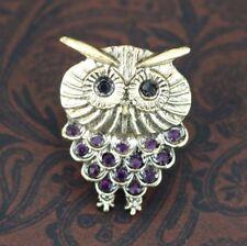 Adjustable Owl Ring Purple Rhinestone Crystal Ladies Owl Jewelry Gifts Owl Lover