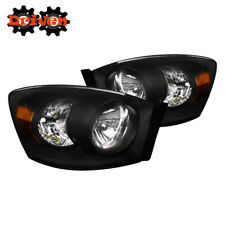 06-08 Dodge Ram Truck Crystal Clear Black Housing Headlights w/Amber Reflector