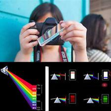 "3.5""/8cm Rainbow Optical Glass Triple Triangular Prism Physics Teaching HOT AD"