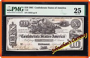 JC&C - T-29 1861 $10 Confederate States of America - Very Fine 25 by PMG