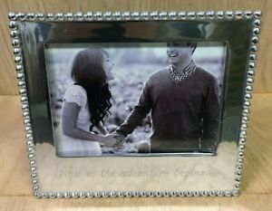 """Mariposa Beaded 5x7 Picture Frame """"And So The Adventure Begins"""" Silver Aluminum"""