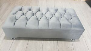 Chesterfield Plush soft velvet Footstool Coffee Table Stool Bed Bench Chair