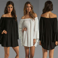 New Women Long Sleeve Loose Chiffon Tops Off Shoulder Wrap T-Shirts Mini Dresses