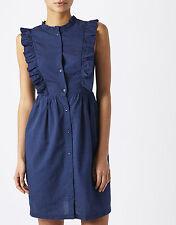 BNWT Monsoon Indigo Gina Frill Summer/Holiday 100% Cotton Denim Shirt Dress 18
