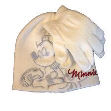 MINNIE set 2 piezas crema sombrero bordado+ guantes en suave e caliente lana