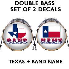 "Custom 22"" DOUBLE Bass Drum Head Decals *LOT OF 2* Skin Wrap Kick Sticker Vinyl"