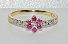 Stunning 9ct Yellow Gold & Silver Ruby & Diamond Cluster Ring - size O