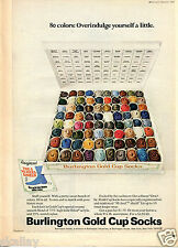 1970 Print Ad of Burlington Gold Cup Socks 80 colors overindulge yourself