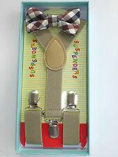 Baby Toddler Kids Child Plaid Tartan Khaki Tan Suspenders Bow Tie Gift Box Set