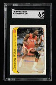 Dominique Wilkins - 1986 Fleer Sticker - Rookie RC - #11 - SGC 6 EX-NM