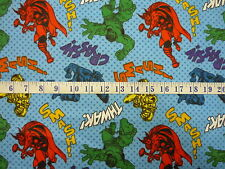 Marvel Comics FLANNEL Characters with Dots Blue Quilting Fabric 1/2 YARD
