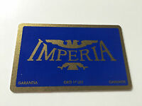 New - IMPERIA - Card Warranty - Warranty Card - For Collectors