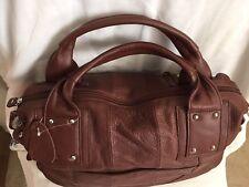 Blush leather handbag, dark brown.