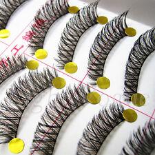 10 Pairs Cross False Eyelashes Makeup Natural Fake Thick Black Eye Lashes K20ue