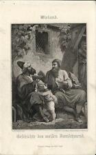 Stampa antica WIELAND weisen Danischmend 1860 Old antique print Alte stich