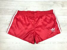 "Adidas Vintage 80's High Cut Silky Shiny Polyester Football Shorts Sz L 36"" D6"