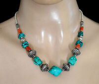 Asian Tribal  Sterling Silver Necklace Real Turquoise Coral Tibetan Jewelry 1MA