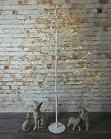 5ft White Twig Christmas Tree 128 LED Lights & Silver Leaves Festive Decoration