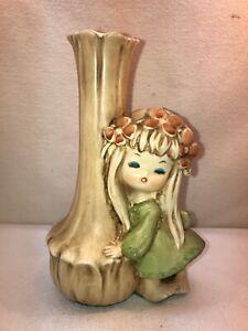 Vtg 1960-70's Japan Hippy Flower Garland Headband Child Girl Bud Vase