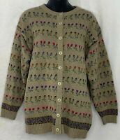 Vtg Mi Ki Majestic Knitwear Womens Cardigan Sweater Wool Blend Floral Beige M