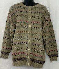 Vtg Mi Ki Majestic Knitwear Womens Cardigan Sweater Wool Blend Floral Beige M