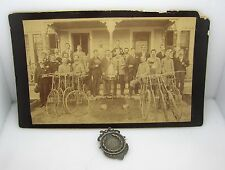LOT OF TWO 1888 BICYCLE CLUB REAL PHOTO W/RACING BIKES & STERLING SILVER MEDAL