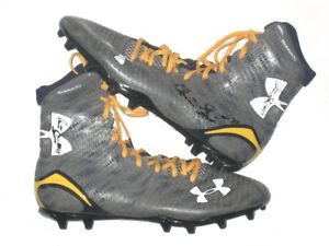 "CHRIS SWAIN NAVY MIDSHIPMEN GAME WORN USED ""GO NAVY!"" UNDER ARMOUR CLEATS * JETS"