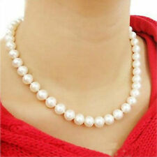 Graceful Women White Faux Pearl Glossy Round Beads Chain Charm Delicate Necklace